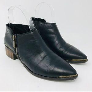 Lucky Brand Koben Black Leather Zip Bootie
